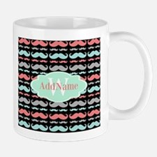 Monogram Funny Mustaches Pattern Mugs