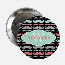 "Monogram Funny Mustaches Pattern 2.25"" Button"