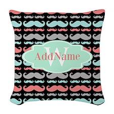 Monogram Funny Mustaches Pattern Woven Throw Pillo