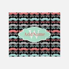 Monogram Funny Mustaches Pattern Throw Blanket