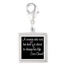 HAIR STYLIST QUOTE Silver Square Charm