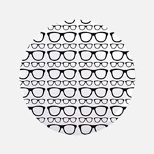 "Cute Retro Eyeglass Hipster 3.5"" Button (100 pack)"