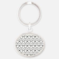 Cute Retro Eyeglass Hipster Oval Keychain