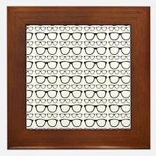 Cute Retro Eyeglass Hipster Framed Tile