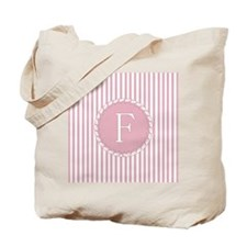 Letter F Pink Candy Stripes Monogram Tote Bag