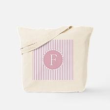 Letter F Pink Candy Stripes Monogram Tote Bag