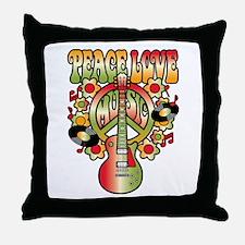 Peace Love Music Throw Pillow