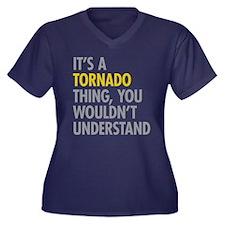 Its A Tornad Women's Plus Size V-Neck Dark T-Shirt