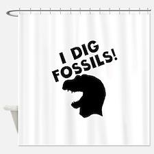 I Dig Fossils Shower Curtain