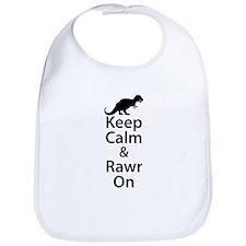 Keep Calm And Rawr On Bib