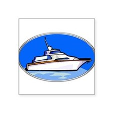 Yacht in Oval Frame Sticker