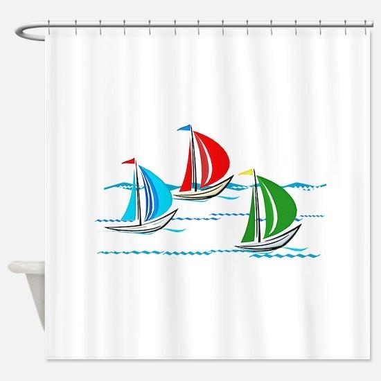 Three Yachts Racing Shower Curtain