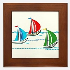 Three Yachts Racing Framed Tile