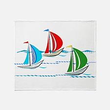 Three Yachts Racing Throw Blanket