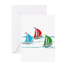 Three Yachts Racing Greeting Cards