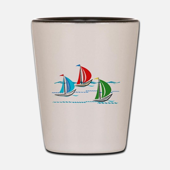 Three Yachts Racing Shot Glass