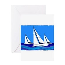 Trio of Sailboats with Edges Greeting Cards