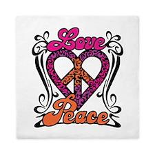 LOVE PEACE Heart Design Queen Duvet