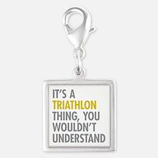 Its A Triathlon Thing Silver Square Charm