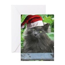Christmas Russian Blue Long-haired Cat Greeting Ca