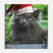 Christmas Russian Blue Long-haired Cat Tile Coaste
