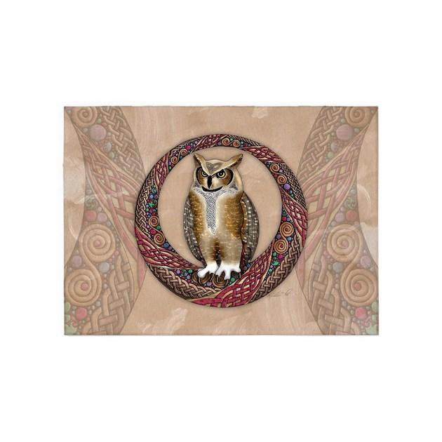 Celtic Owl 5'x7'Area Rug By Artoffoxvox