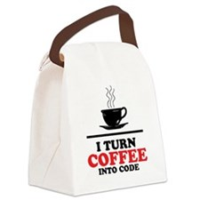 I turn coffee into Code Canvas Lunch Bag