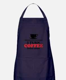 I turn coffee into Code Apron (dark)