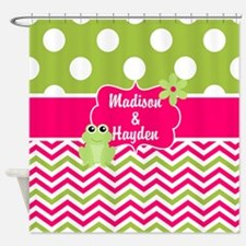 Pink Green Chevron Frog Personalized Shower Curtai