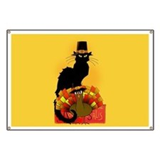 Thanksgiving Le Chat Noir With Turkey Pilgr Banner