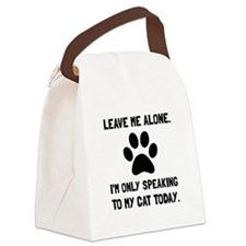 Alone Speaking Cat Canvas Lunch Bag