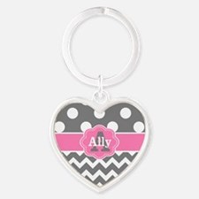 Gray Pink Chevron Dots Personalized Keychains
