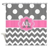 Gray pink chevron Shower Curtains