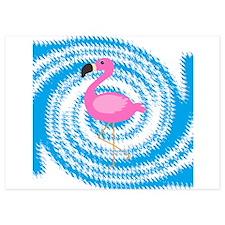 Pink Flamingo on Teal Swirl Invitations