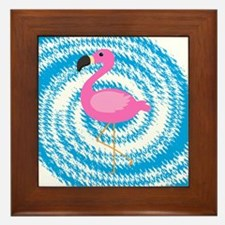 Pink Flamingo on Teal Swirl Framed Tile