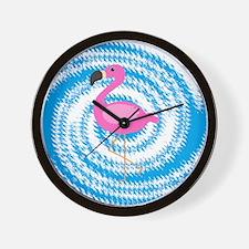 Pink Flamingo on Teal Swirl Wall Clock