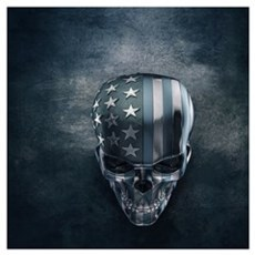 American Flag Skull Wall Art Poster