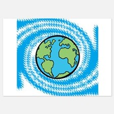 Earth on Blue Swirl Invitations