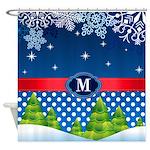 Holiday Snowflake Monogram Shower Curtain