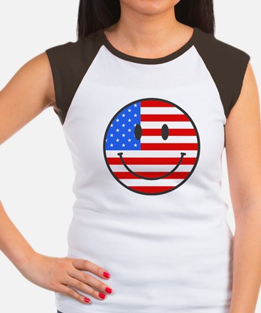 Smiley Face Fourth Of July Women's Cap Sleeve T-Sh
