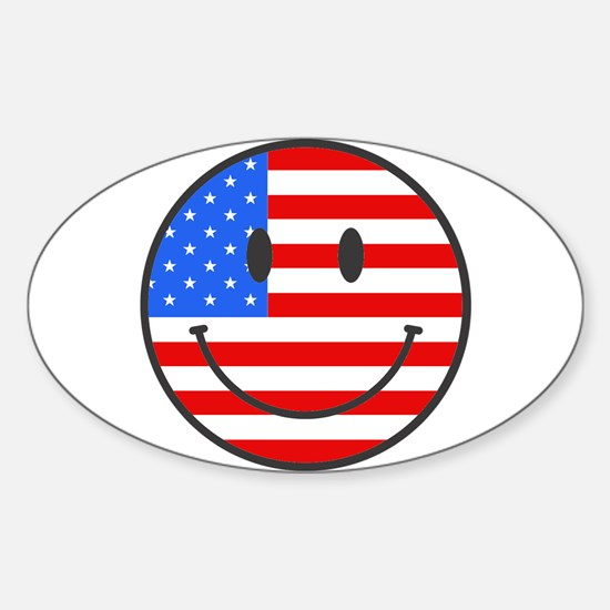 Smiley Face Fourth Of July Oval Decal