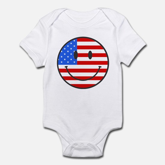 Smiley Face Fourth Of July Infant Bodysuit