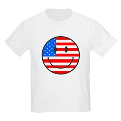 Smiley Face Fourth Of July Kids Light T-Shirt