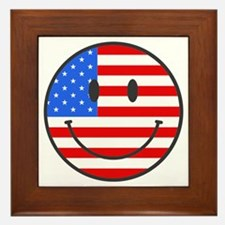 Smiley Face Fourth Of July Framed Tile