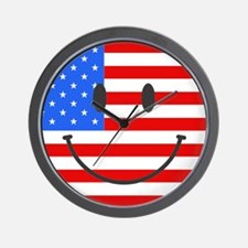Smiley Face Fourth Of July Wall Clock