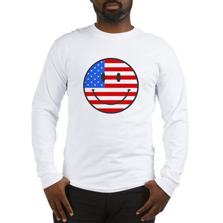 Smiley Face Fourth Of July Long Sleeve T-Shirt
