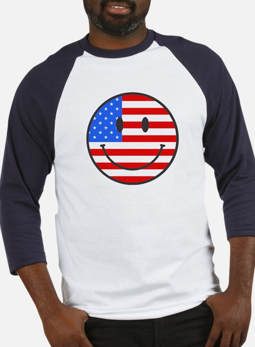 Smiley Face Fourth Of July Baseball Jersey