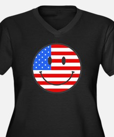Smiley Face Fourth Of July Women's Plus Size V-Nec