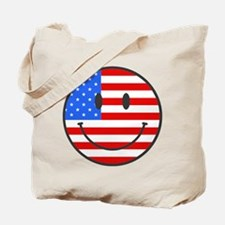 Smiley Face Fourth Of July Tote Bag