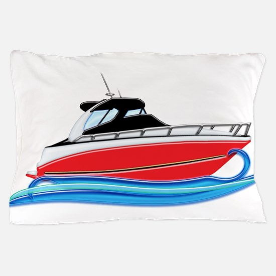 Sleek Red Yacht in Blue Waves Pillow Case